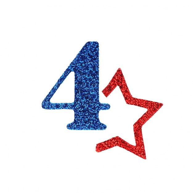 Een schitterend blauw nummer vier en een rode niet-hele kleur. concept vierde van juli amerikaanse onafhankelijkheidsdag. Premium Foto