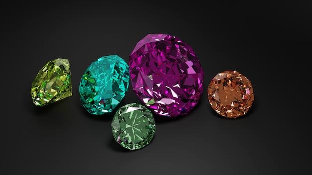 Een stapel van kleurrijke diamant op donkere achtergrond. Premium Foto