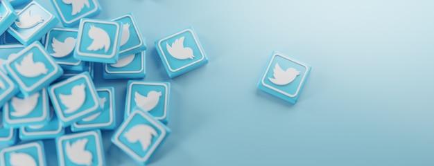 Een stel twitter-logo's op blauw Premium Foto