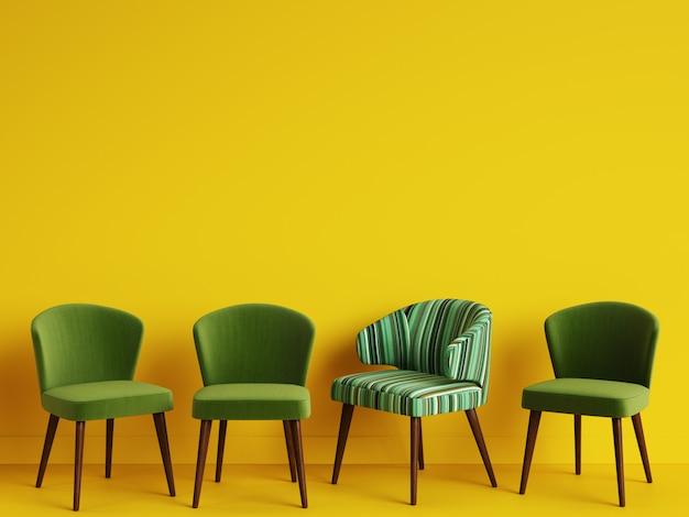 Een stoel met patroon kleurrijke strepen onder eenvoudige groene stoelen op gele backgrond met kopie ruimte. concept van minimalisme. digitale afbeelding. 3d rendering mock up Premium Foto