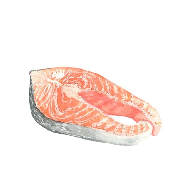 Een stuk rode vette vis Premium Foto