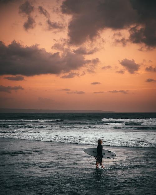 Een surfer die surfend zwempak draagt dat een surfplank houdt die zich bij de kust bevindt tijdens zonsondergang Gratis Foto