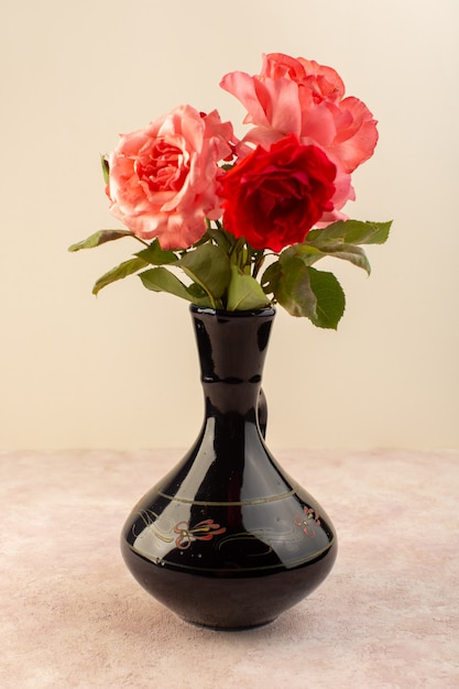 Een vooraanzicht rode rozen mooie roze en rode bloemen in zwarte kruik geïsoleerd op tafel en roze Gratis Foto