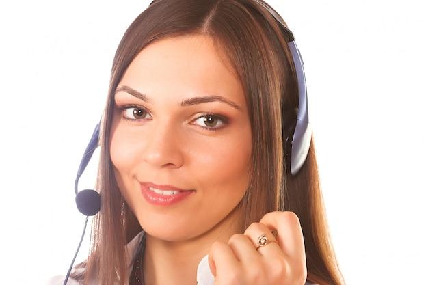 Een vriendelijke secretaresse of een telefoonexploitant Premium Foto