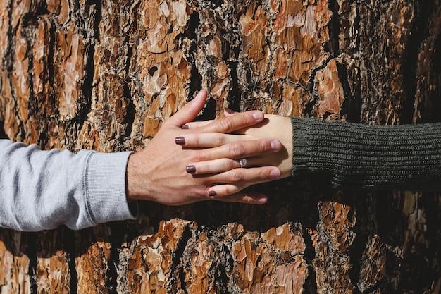 Een vrouwelijke hand met diamanten ring en een mannelijke koppeling handen Gratis Foto