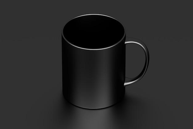 Een zwarte koffiemok beker met leeg oppervlak op zwart Premium Foto