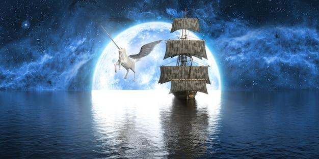 Eenhoorn dichtbij het schip tegen de achtergrond van een grote volle maan, 3d illustratie Premium Foto