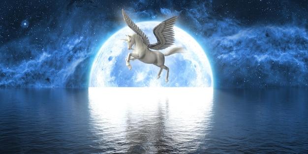Eenhoorn met vleugels op de achtergrond van een grote volle maan, 3d illustratie Premium Foto