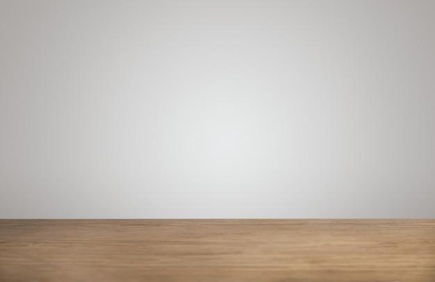 Eenvoudige achtergrond met lege dikke houten tafel in caféwinkel en lege witte muur Gratis Foto