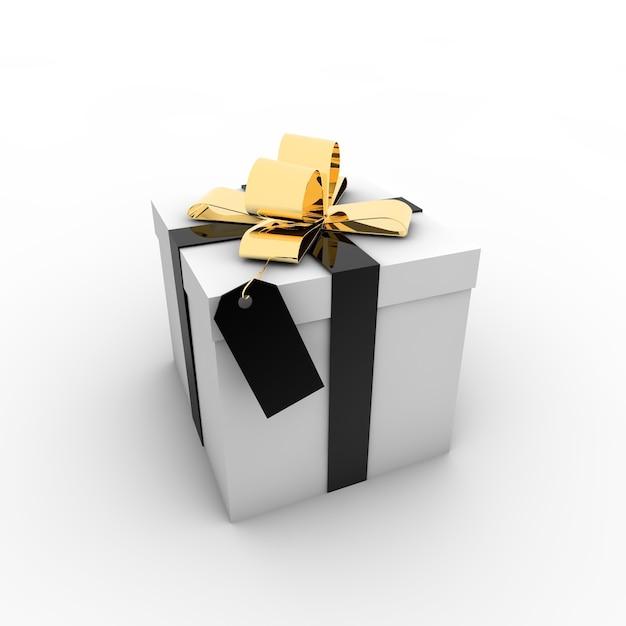 Eenvoudige illustratie van een geschenkdoos met een strik op een witte achtergrond Gratis Foto
