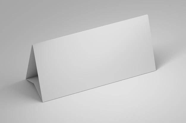Eenvoudige sjabloon mockup van office tafelpapier staan met lege lege oppervlak op wit Premium Foto