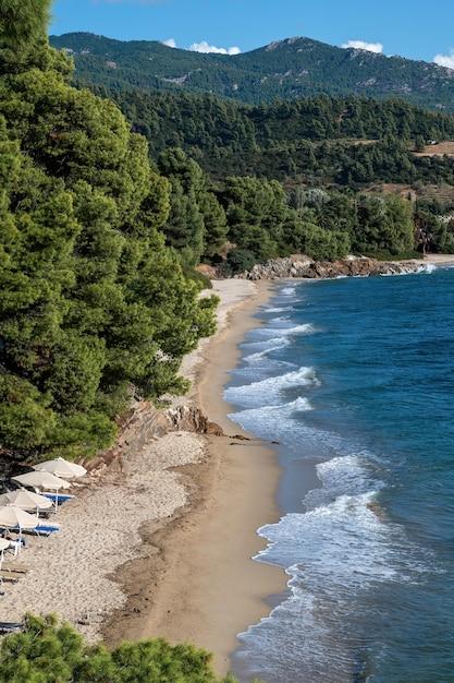 Egeïsche zeekust van griekenland, rotsachtige heuvels met groeiende bomen en struiken, strand met golven en parasols met ligbedden Gratis Foto