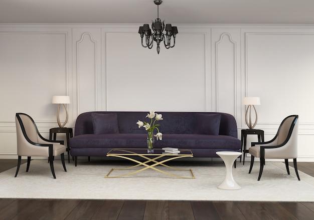 Eigentijdse elegante eigentijdse woonkamer Premium Foto