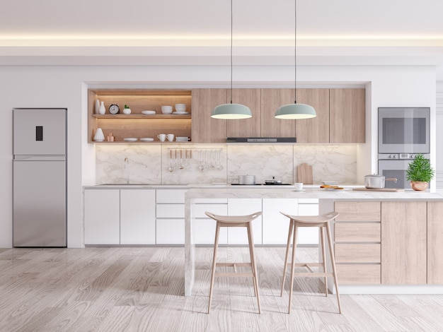 Elegante eigentijdse keuken kamer interieur Premium Foto