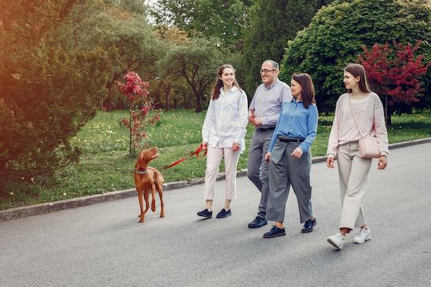 Elegante familie tijd doorbrengen in een zomer park Gratis Foto