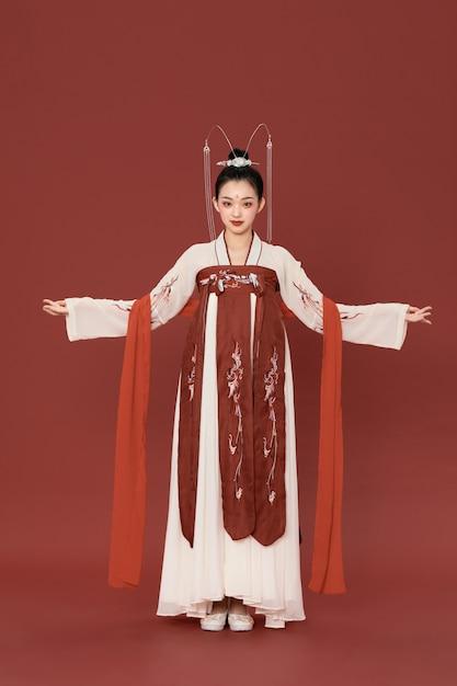 Elegante oude charme hanfu chinese stijl schoonheid Premium Foto