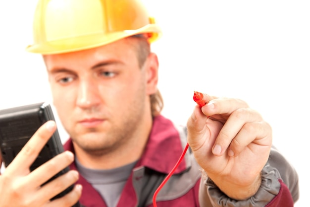 Elektricien op het werk Premium Foto