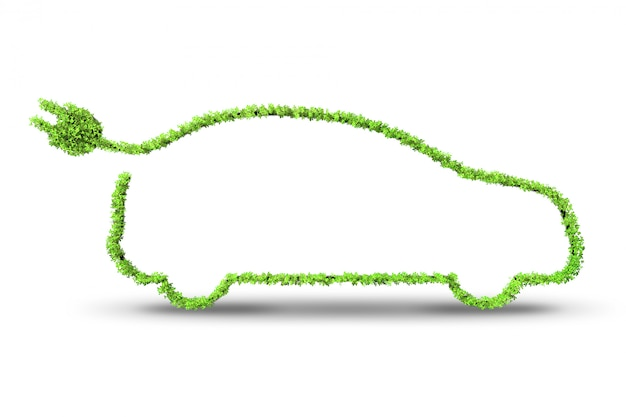 Elektrische groene auto Premium Foto