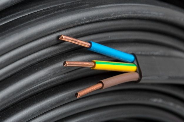 Elektrische kabelsclose-up Premium Foto