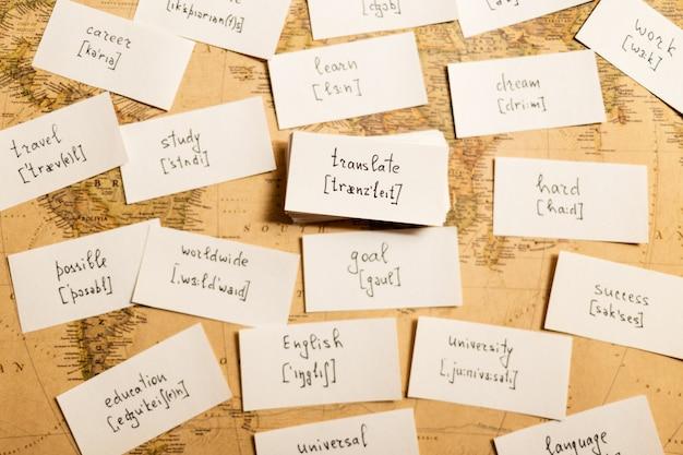 Engelse woorden leren. vertalen Premium Foto