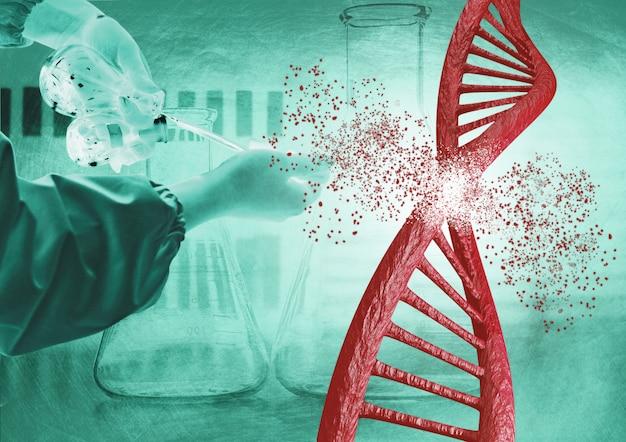 Engineering en genetische bewerking via de crispr-techniek. dna-ketting afbreken Premium Foto