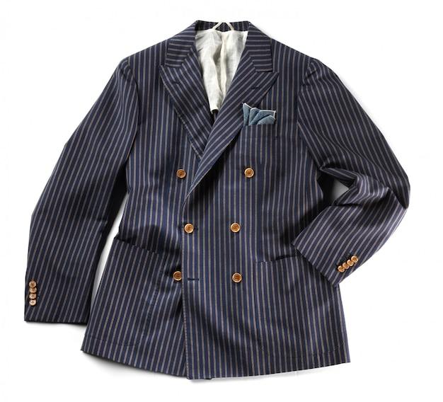 Enkele gestreepte jas met krijtstrepen Premium Foto