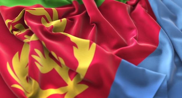 Eritrea flag ruffled mooi wave macro close-up shot Gratis Foto