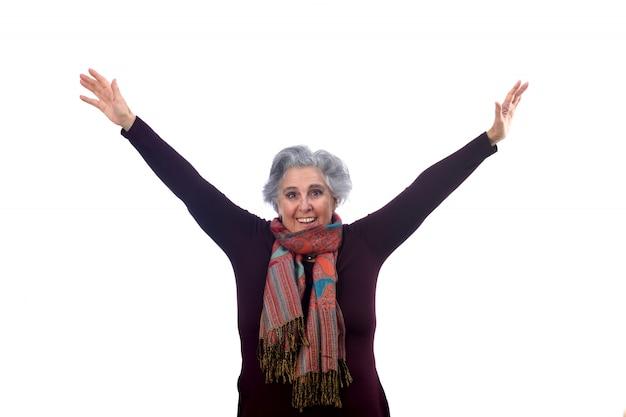 Essentiële vrouw met uitgestrekte armen op wit Premium Foto