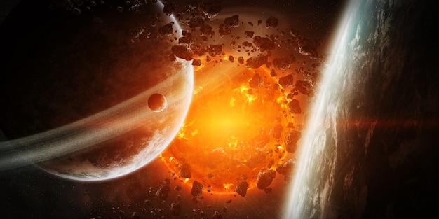 Exploderende zon in de ruimte dicht bij de planeet Premium Foto
