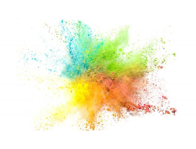 Explosie van gekleurd poeder op een witte achtergrond Gratis Foto