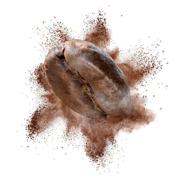 Explosie van gemalen koffiebonen Premium Foto