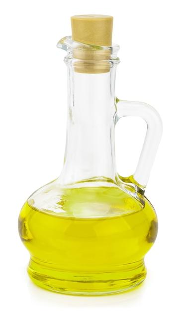 Extra olijfoliefles die op een wit wordt geïsoleerd. Premium Foto