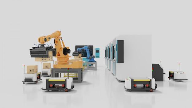 Fabrieksautomatisering met agv's, 3d-printers en robotarmen Premium Foto