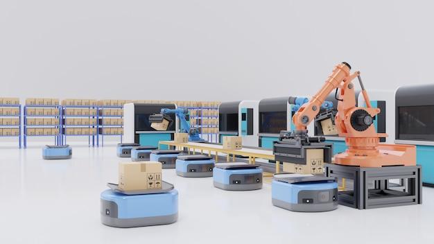 Fabrieksautomatisering met automatisch geleid voertuig en robotarm. Premium Foto