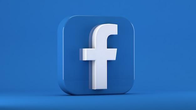 Facebook-pictogram geïsoleerd op blauw in een vierkant met stompe randen Premium Foto