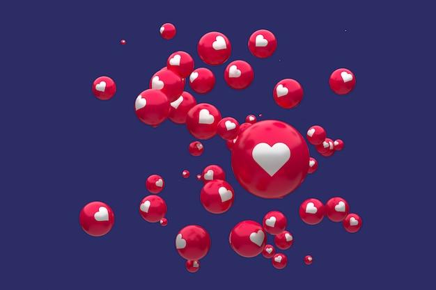 Facebook-reacties emoji 3d render premium photo, sociale media ballon symbool met hart, happy valentines day card Premium Foto