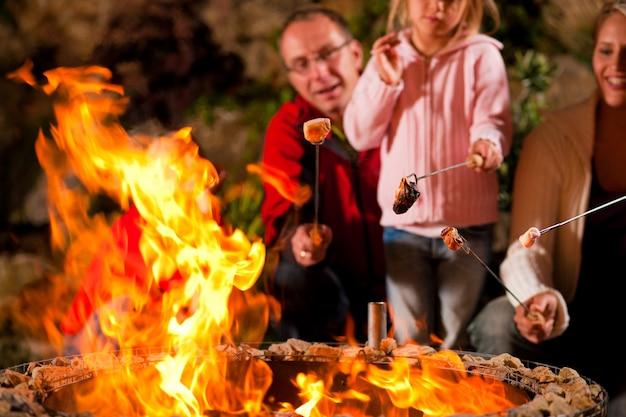Familie bij de barbecue in de avond Premium Foto