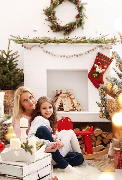 Familie vieren kerst Gratis Foto