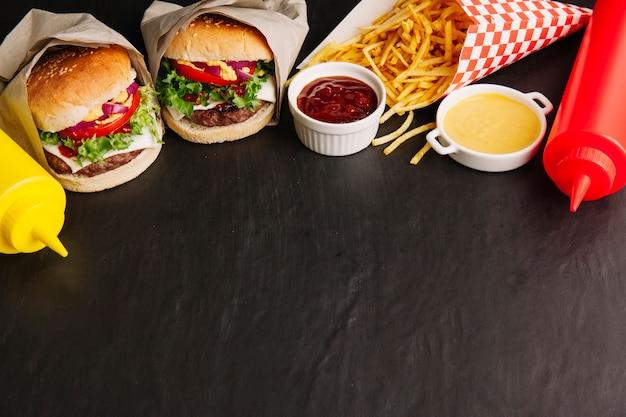 Fastfood en ruimte op de bodem Gratis Foto
