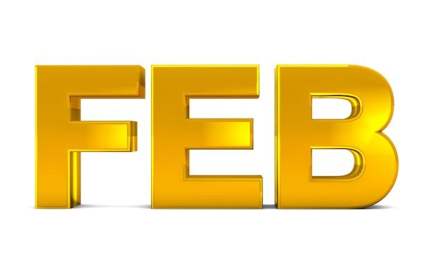 Feb gold 3d-tekst februari maand afkorting geïsoleerd op een witte achtergrond. 3d render. Premium Foto
