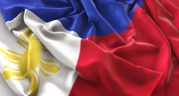 Filippijnen vlag ruffled mooi wapperende macro close-up shot Gratis Foto