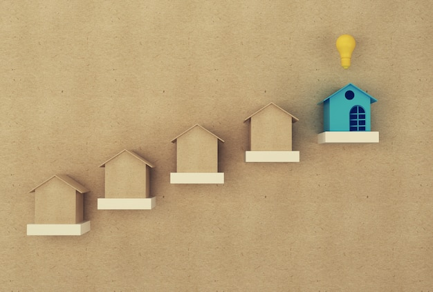 Financieel beheer: huis en geld sparen geld voor verblijf. onroerend goed investeringen onroerend goed en huis hypotheek Premium Foto