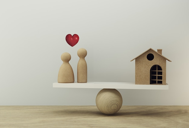 Financieel management: huis en geld besparen geld voor bruiloft een weegschaal in gelijke positie. bereid je voor op huwelijkskosten en verblijf. Premium Foto