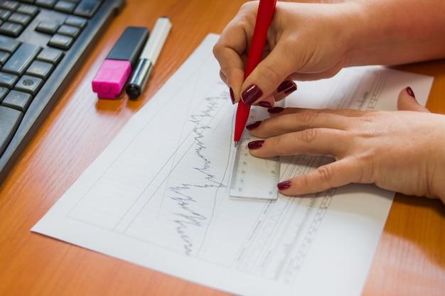 Financiële boekhouding verkoopprognose grafieken analyse met handschrift en met liniaal. Premium Foto
