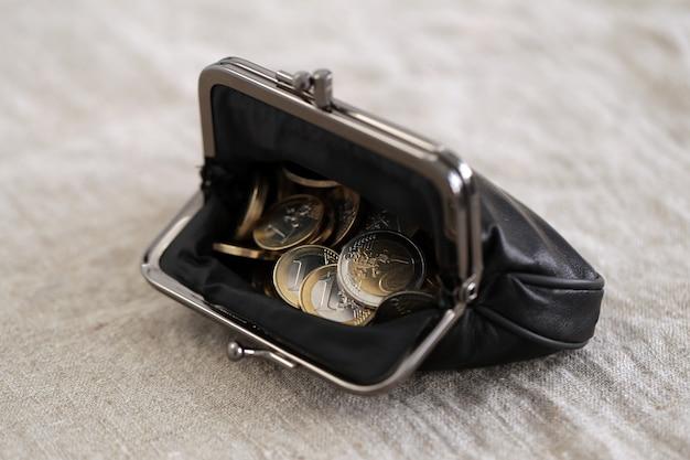 Financiën. euromunten in de portemonnee Gratis Foto