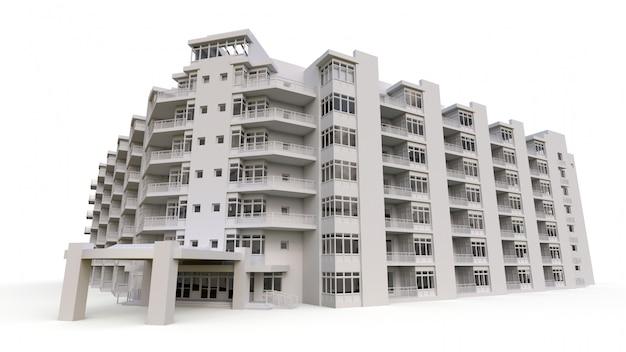 Flatmodel in witte kleur met transparante glazen. appartementenhuis met een binnenplaats. 3d-weergave Premium Foto