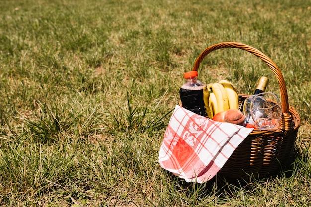 Fles champagne; wijnglazen; sapfles; fruit en servet in rieten mand op groen gras Gratis Foto