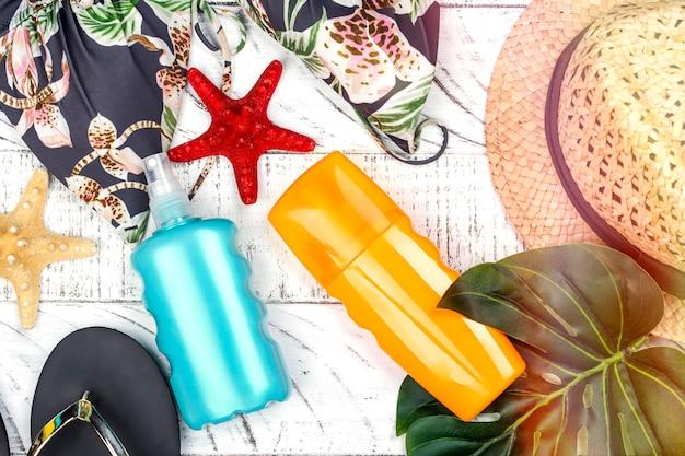 Fles zonnebrandcrème en spray Premium Foto