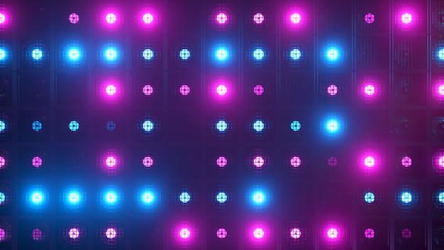 Flikkerende wandlampen. knipperlichten lantaarns voor clubs en discotheken. nachtclub halogeenlamp. modern neon spectrum. Premium Foto