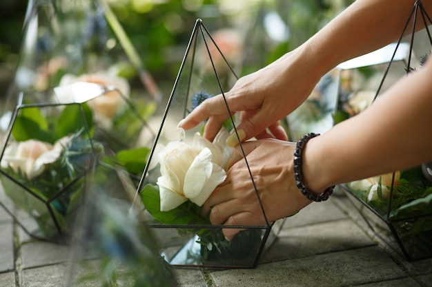 Florarium met verse succulente en roze bloemen Premium Foto